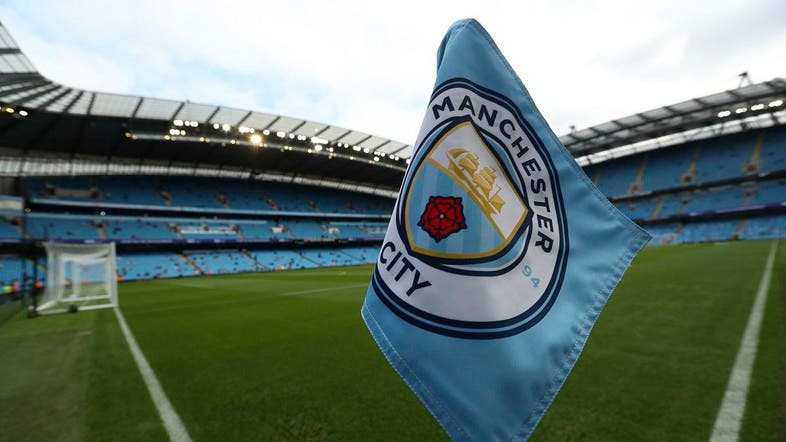he club logo decorates a corner flag before an English Premier League match at the Etihad Stadium in Manchester. (AP)